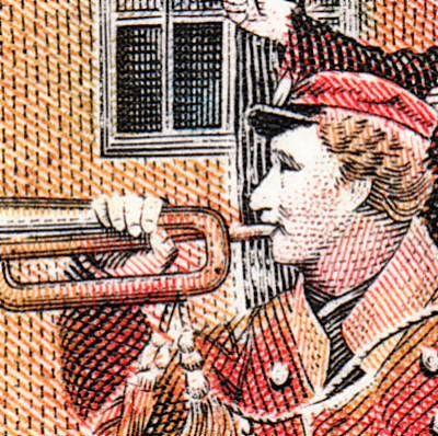AFA 624, mærket er fra ark med segl på brev, pos. 1.