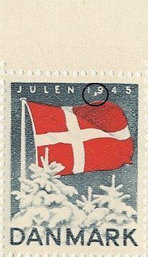 Julemærke 1945: Hvid plet foran foden af 9