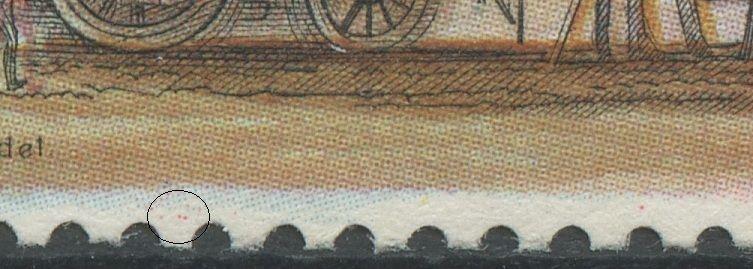 To små magenta pletter i nedre margin til v.