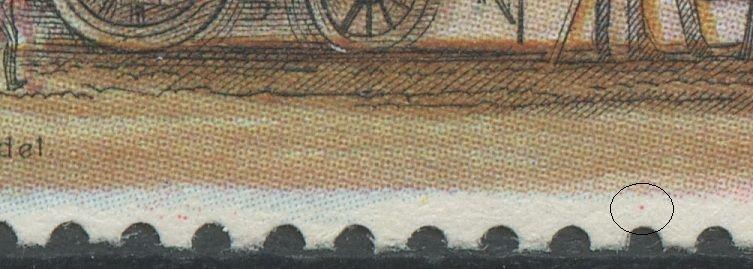 Magenta plet i nedre margin midtfor