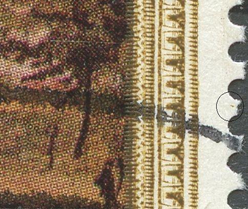 Brun plet i h. margin