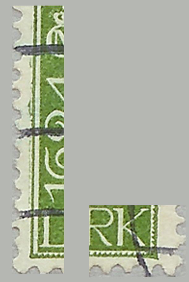 Nr. 133. 10 øre grøn. Farve streg og spids SØ-Hjørne.
