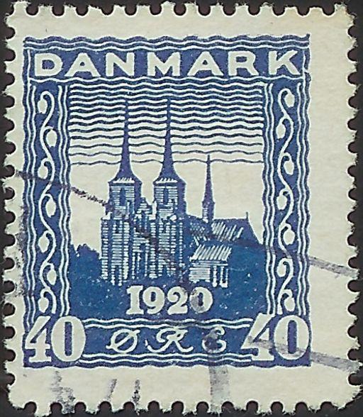 Nr. 116 Genforeningsmærke 40 øre blå