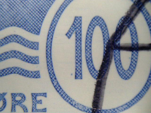 blå plet ved 1 tal i bundt