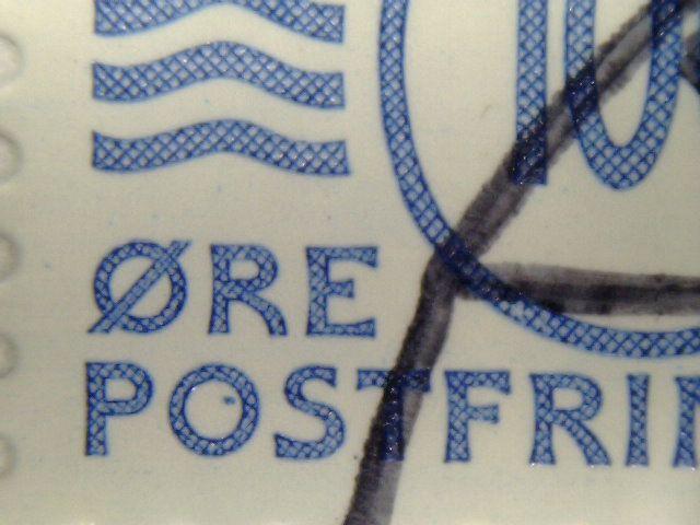 blå plet i O i postfrimærke