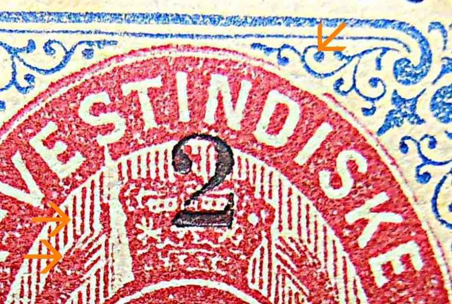 Dansk Vestindien Afa 18By pos.78, OF.1, ramme 31,23 med hovedgruppe 5B