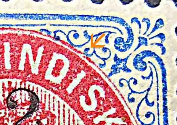 Dansk Vestindien Afa 18Byt pos.85, OF,3, ramme 31.16 med hg 5D