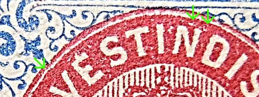 Dansk Vestindien Afa 20y pos 75, OF.23, ramme 31.26 med hg 5D'1