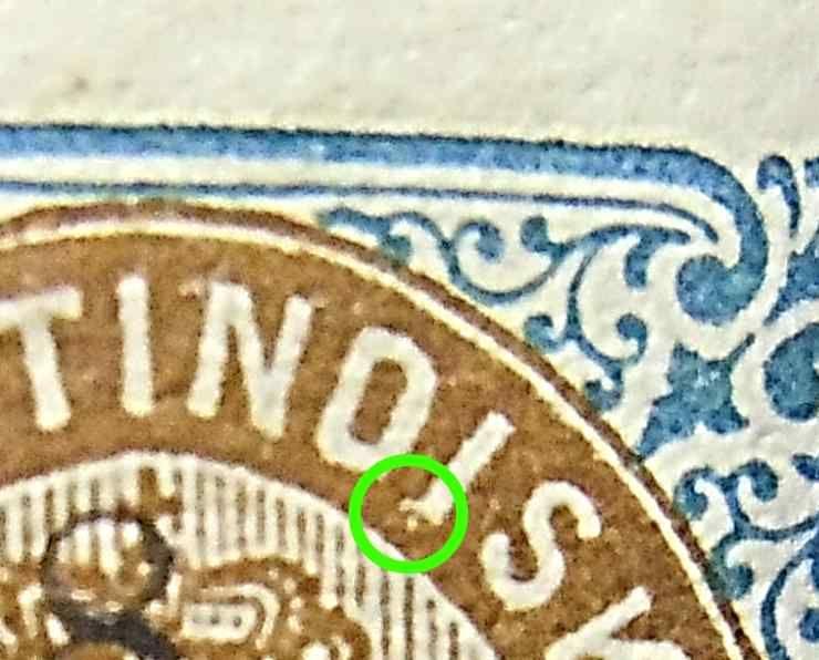 Dansk Vestindien  Afa 19 pos 33, OF.13, OM.6, ramme 31.33 med hg5D'1